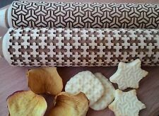 Wooden Rolling Pin Laser Cut Embossed Stylish Rolling Pins Abstract Set 2 pcs