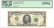 1995 $5.00 Fr.1985-L FW Fed. Res..Note,(LF Block),  PCGS 67 PPQ Superb Gem New