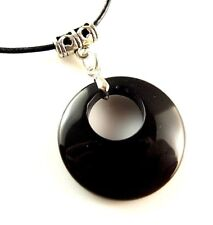 Natural Black Agate Round Gemstone Pendant & Adjustable Leather Necklace #1992
