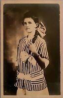Studio Real Photo Postcard RPPC ~ Young Woman w Very Long Hair In Braid & Bows