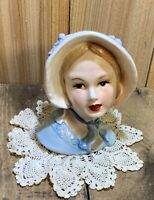 Vintage Lady Head Vase Planter Young Girl Blue Dress & Bonnet Marked 50/426