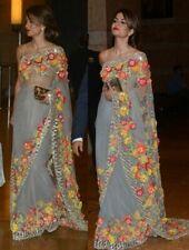 Designer Gray Soft Net Embroidered Bollywood Saree Sari Banarasi Blouse Party