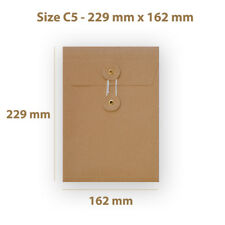 C5 Manilla String & Washer With Gusset Bottom & Tie Envelopes Free P&P