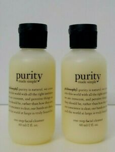 2 pk PHILOSOPHY PURITY Made Simple One Step Facial Cleanser 2 oz each SEALED
