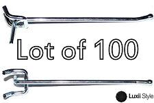 """Lot of 100 6"""" Heavy Duty Pegboard Peg Board Hooks Zinc Plated Steel"""