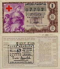Año 1958. 100 Pesetas Décima parte del billete. 4 de Octubre. Cruz Roja.