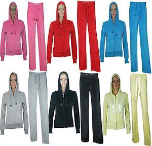 Womens Ladies Hooded Velour Full Tracksuit Hoodie Bottom Trouser Size 8 10 12 14