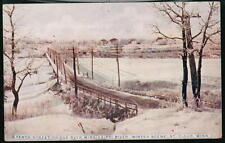 ST CLOUD MN 10th Street Bridge Winter Snow Vtg Postcard
