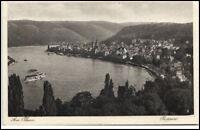 Boppard Rheinland Pfalz Postkarte 1931 gelaufen Totalansicht mit Rhein