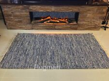 DENIM BLUE Handmade ECO Friendly Soft Recycled Cotton Reversible Rag Rugs 40%OFF