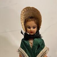 "Vintage 6"" Plastic Sleep Eye Traditional Doll From Bourbonnais France 1962"