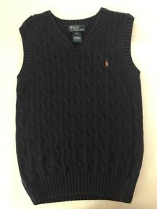 Polo By Ralph Lauren Boys V Neck Navy Blue Cable Knit Sweater Vest Size 7