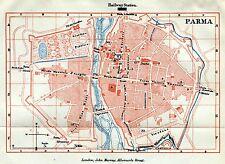 Pianta di Parma. Carta Topografica,Geografica. Stampa Antica + Passepartout.1891