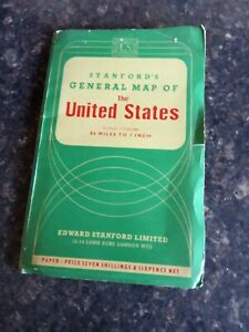 1953 STANFORDS GENERAL MAP OF THE UNITED STATES. EDWARD STANFORD LTD