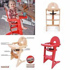 Holz Kinderhochstuhl Treppenhochstuhl mit Tisch Essbrett MAX PREMIUM natur rot
