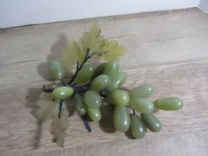 Vintage Bunch Green Jade 18 Grapes clusters glass stone leaves  GUC