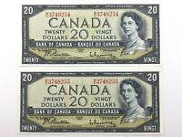 1954 Canada 20 Dollar Circulated Consecutive ME Beattie Rasminsky Banknotes R386