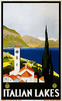 Italian Lakes  Vintage Illustrated Travel Poster Print  Framed Canvas painting