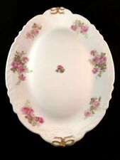 """Platter Imperial Limoges Antique 16"""" Platter Pink Roses Gold Bows Double-Marked"""