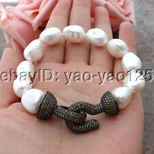 K060113 8'' White Baroque Pearl Bracelet CZ Clasp