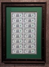 CUSTOM black FRAME DOUBLE MAT FOR 1, 2, 5, 20 bill 16 Uncut Half Sheet of Money