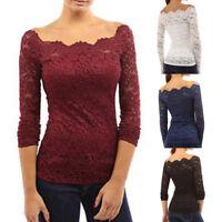 Women Sexy Off Shoulder Lace Long Sleeve Slim Casual Shirt Top Blouse T-shirt YA