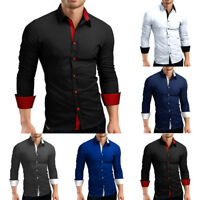 Men Casual Formal Shirts Slim Fit Shirt Top Long Sleeve Dress Shirt Tops T-Shirt