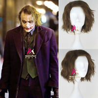 Batman The Dark Knight Joker Short Curly Light Brown Cosplay Halloween Wig