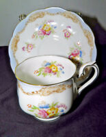 Antique ROYAL ALBERT Cup & Saucer Light Blue White Gold Floral Bone China
