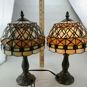 PAIR Tiffany Table Lamp Classic European Baroque Stained Glass Bedside Lamp 14""