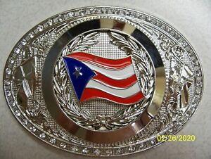 Premium Puerto Rico FLAG, Puerto Rican, reflective quality Men's Belt Buckle