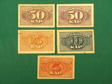 More details for 1919 independent latvia first money 5 banknotes set 2x50; 25; 10; 5 kopek vf