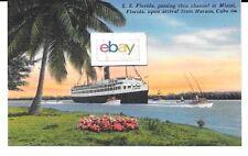 P & O Lines S.S. Florida To Havana & Nassau Linen 1940'S Postcard