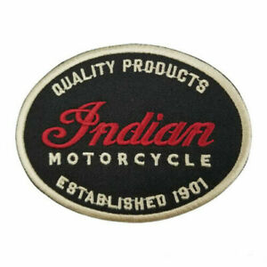 Indian Motorcycle Oval Black Embroidered Patch - AUS SELLER