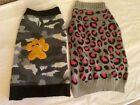 2 Size L Dog Sweaters Camo W/Yellow Paw Grey Leopard Print
