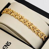"""Women's Bracelet Lovely Heart Chain 18K Yellow Gold Filled 7.5""""Link 9mm Jewelry"""