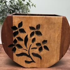 Hand Carved Wooden Vase Planter Pot Flower Design Brown Tan Boho Bohemian Decor