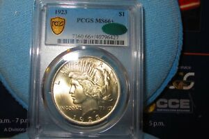 1923 PEACE DOLLAR PCGS MS66+ CAC FULL ON EPIC BOTH SIDES!! REGRADE 67? 1 DAY !!!