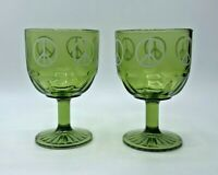 """MCM """"Peace Sign"""" Goblets 1960's Green Glass Set of 2~ Flower Child Hippie~ 16 oz"""