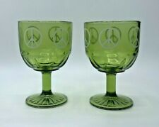 "MCM ""Peace Sign"" Goblets 1960's Green Glass Set of 2~ Flower Child Hippie~ 16 oz"
