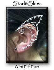 Wire Elf Ears, Sterling Silver Filled Pair with Swarovski Crystals
