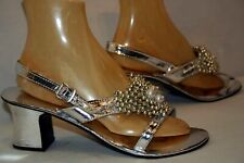 Nos 10 Vtg 1970s Sandal Shoe Silver Metallic Beaded Vagabond House Block Heel