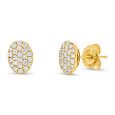 0.48 CT 14K Yellow Gold Natural Real Round Diamond Pave Oval Shape Stud Earrings
