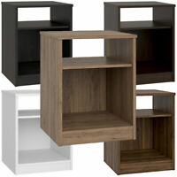 Nightstand w/ Open Shelf and Cubby, Bedside Table 6 Finishes, Bedroom Furniture