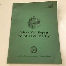 """1965 Department Of Defense Booklet """"Before You Report For Active Duty"""