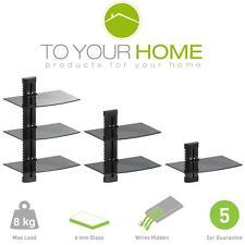 Black Floating Single Double Triple Glass Shelves Wall Mount Bracket Stand DVD