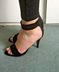 OFFICE - black suede zip back sitletto heel ankle strap shoes - Size 5 EU 38