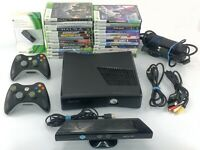 Microsoft Xbox 360 S Black Console 250GB w 2 Controllers 25 Games Kinect Headset