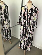 French Connection Maxi Shirt Dress Black Flower. Size 10