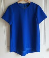 Madewell Womens Crew Neck Alpha Blue Textured Tailored Tee Shirt Top Size Small